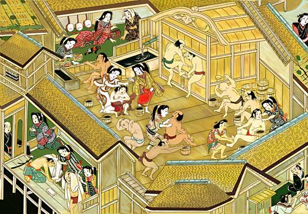 江戸時代初期のお風呂屋(『江戸名所図屏風』の一部)