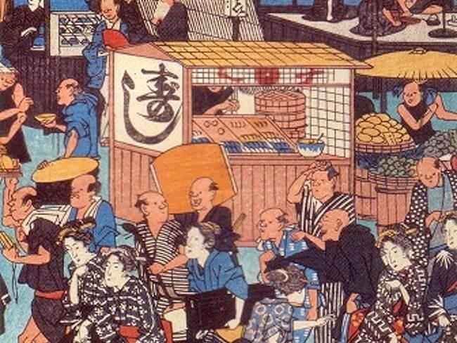 江戸の寿司屋台が月見行事に参加した様子(『東都名所高輪廿六夜待遊興之図』部分、歌川広重 画)