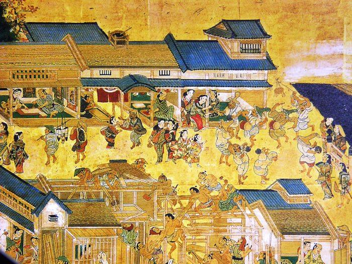 江戸時代の町の様子(江戸図屏風)