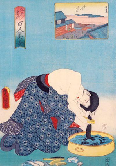 『江戸名所 百人美女』より「今川はし」(三代歌川豊国 画)の拡大画像