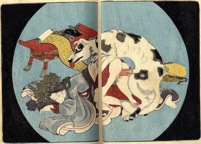 南総里見八犬伝のパロディ春画(歌川国貞の『恋のやつふぢ』)