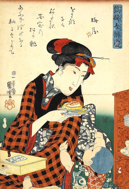 江戸時代の有名店・松のすし(『縞揃女弁慶 松の鮨』歌川国芳 画)