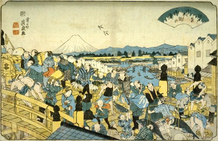 江戸時代の日本橋のにぎわい(『日本橋の晴嵐』渓斎英泉 画)