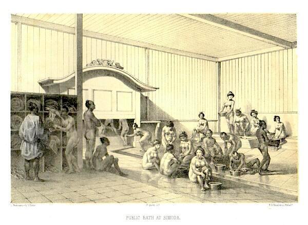 江戸時代の混浴(『日本遠征記』より)の拡大画像