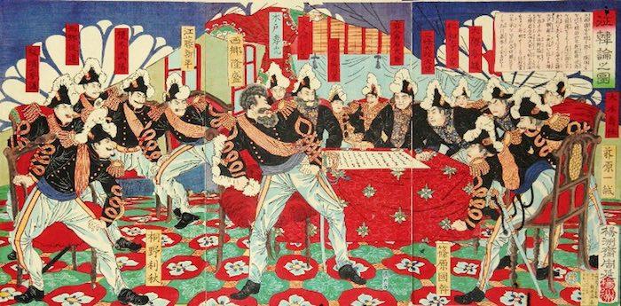 西郷隆盛のヒゲ(『征韓論之図』永嶌孟斎 画)