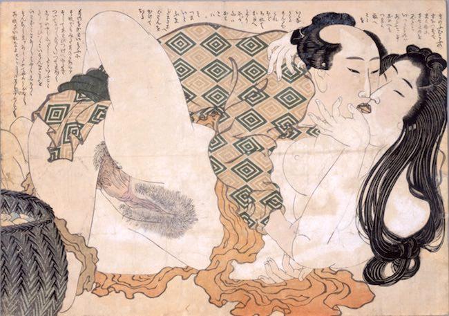 漁師と海女のカップル(『富久寿楚宇』、葛飾北斎 画)