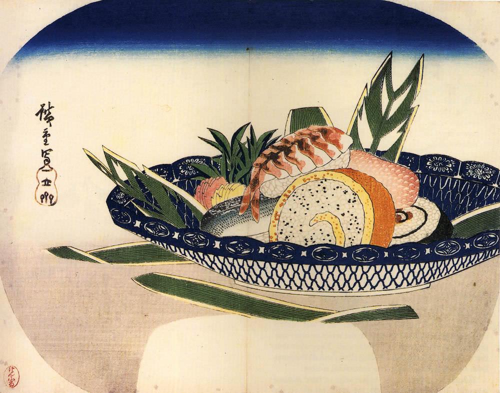 江戸時代の寿司(歌川広重 画、江戸時代後期)の拡大画像