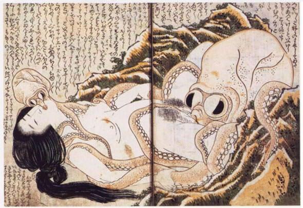 蛸と海女(艶本『喜能会之故真通』より、葛飾北斎 画)