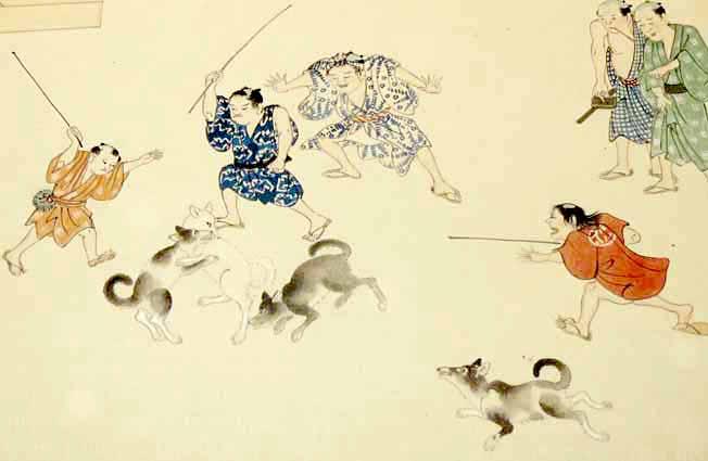 江戸時代の野良犬(『十二ヶ月年中江戸風俗』より)