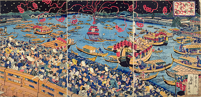 江戸時代の花火大会(『東都両国夕涼之図』歌川貞房 画)
