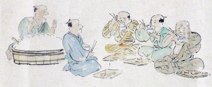 江戸時代の大食い大会の様子(飯の部)