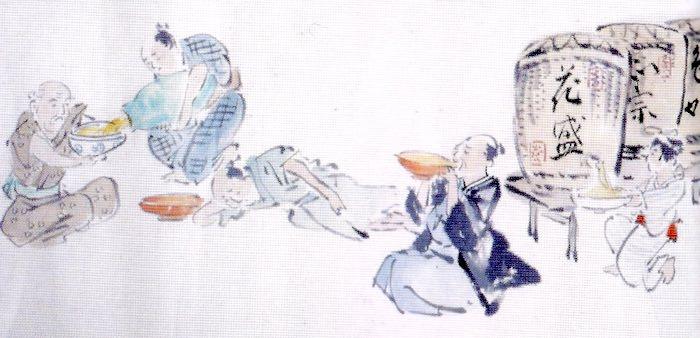 江戸時代の大食い大会の様子(酒の部)