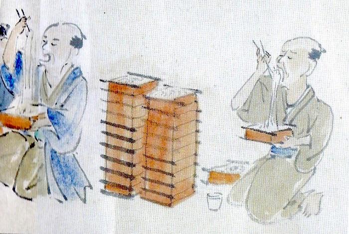 江戸時代の大食い大会の様子(そばの部)
