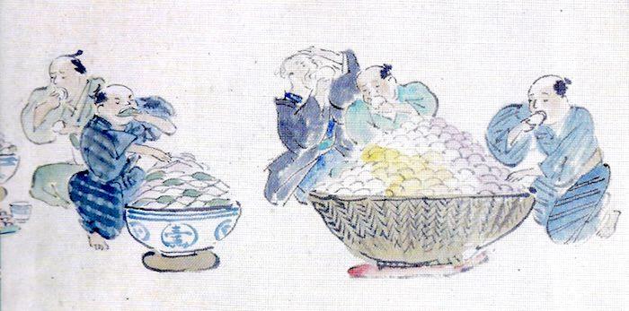江戸時代の大食い大会の様子(菓子の部)
