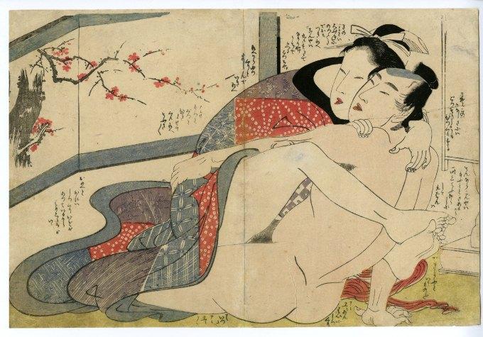 江戸時代の春画(『絵本小町引』喜多川歌麿 画)の拡大画像