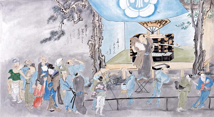 江戸時代の大食い大会で死亡した香具師・松井源水(『近世職人絵尽』より、鍬形蕙斎 画)