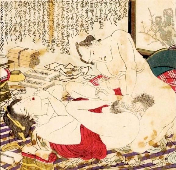 長命丸を使用して性交する夫婦(『地色早指南』より 渓斎英泉 画)