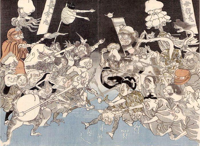 妖怪合戦を模した江戸時代の媚薬「長命丸」と「女悦丸」の対決