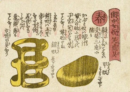 江戸時代の避妊具 甲形(読み:かぶとがた、『閨中女悦笑道具』より)の拡大画像
