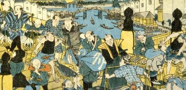 江戸時代にひげの人がいない(『日本橋の晴嵐』渓斎英泉 画)