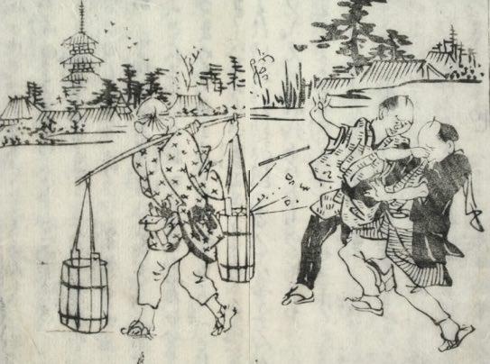 下肥買いとよばれる江戸時代の排泄物回収人(『滑稽臍栗毛』より)