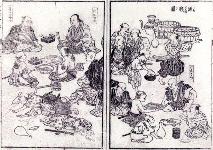 江戸時代の大酒飲み大会(慶安代酒戦図(『近世奇跡考』の酒戦の図より)