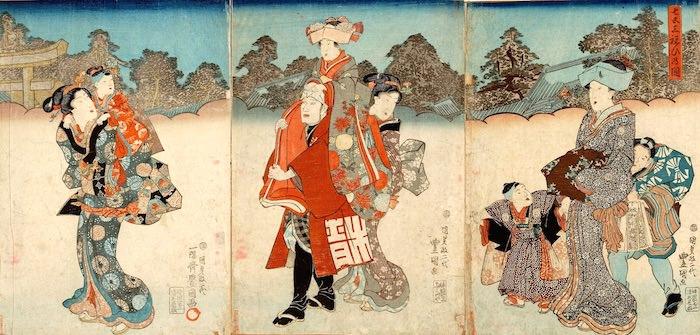 江戸時代の七五三(『七五三祝ひの図』、三代歌川豊国 画)
