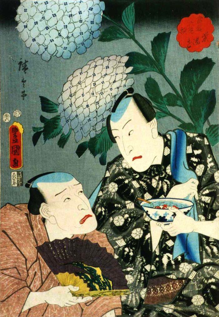 ところてんを食べる男性(『当盛六花撰 紫陽花』、三代歌川豊国 画)の拡大画像