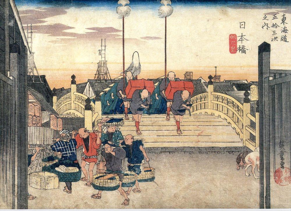 大名行列の出発風景(『東海道五十三次』の「日本橋 朝之景」より、歌川広重 画)の拡大画像