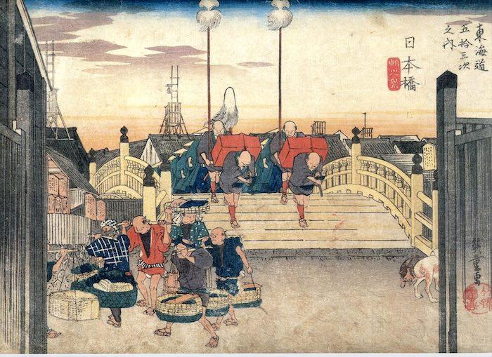大名行列の出発風景(『東海道五十三次』の「日本橋 朝之景」より、歌川広重 画)