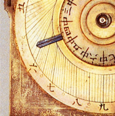 振子円グラフ式文字盤掛時計の文字盤(江戸時代)
