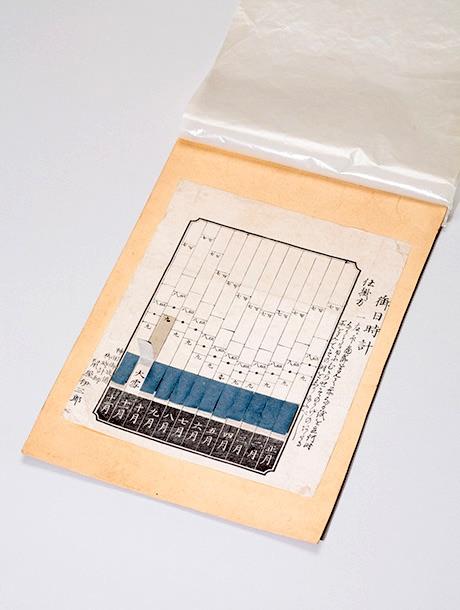 <br /> 江戸時代の紙製の日時計