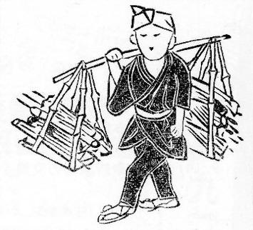 江戸時代の古傘買い(守貞謾稿より)の拡大画像
