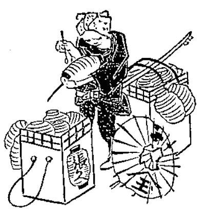 江戸時代の提灯張り替え職人(守貞謾稿より)