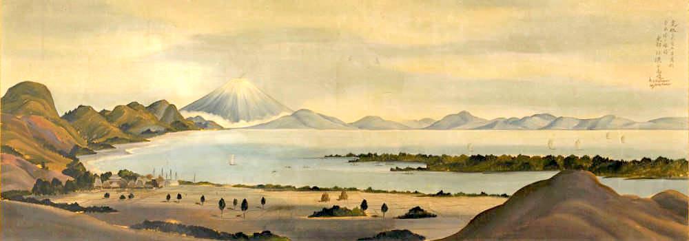 富士山を好んで描いた司馬江漢(『駿州薩陀山富士遠望図』)の拡大画像