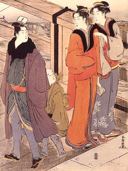 縞模様は江戸時代中期以降、男女問わず人気(『橋上の行交』勝川春潮 画)