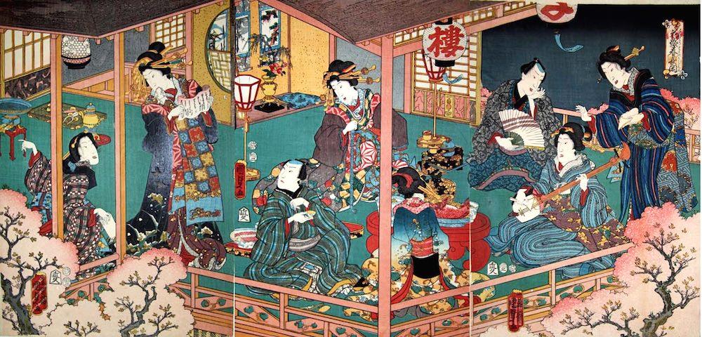 「花盛春長閑」(二代歌川国貞 画)の拡大画像