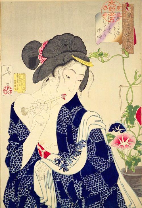 江戸時代の歯磨き(『風俗三十二相』の「めがさめさう」より、月岡芳年 画)
