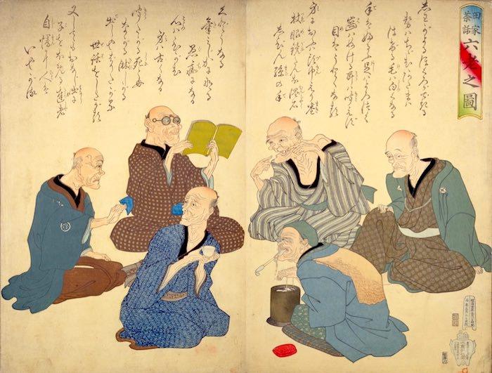 田家茶話六老之図(歌川国芳 画)