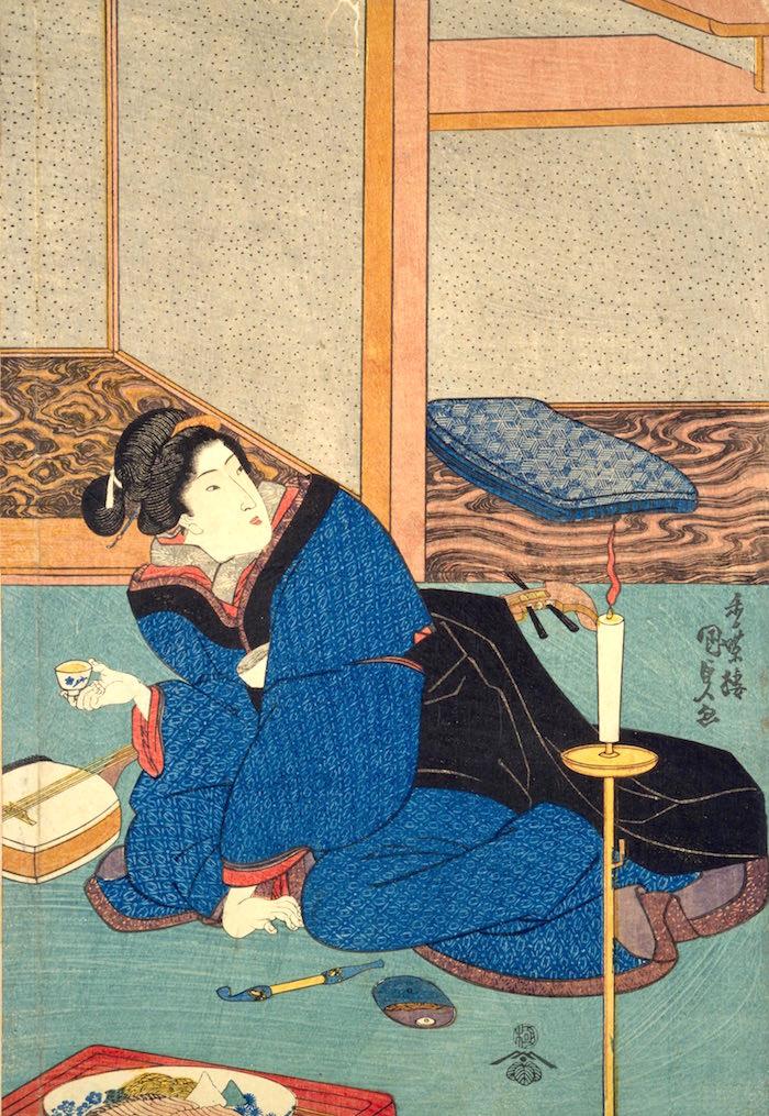 江戸時代は蝋燭を再利用していた((『岡場所錦絵 辰巳八景之内』香蝶楼国貞 画)の拡大画像