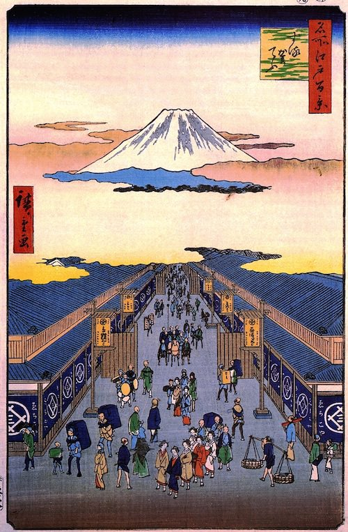 する賀てふ(『名所江戸百景』歌川広重 画)