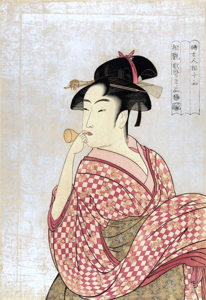 ビードロを吹く娘(喜多川歌麿 画)の拡大画像