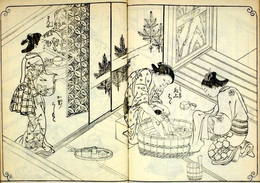 江戸時代の出産(『百人女郎品定』より)の拡大画像