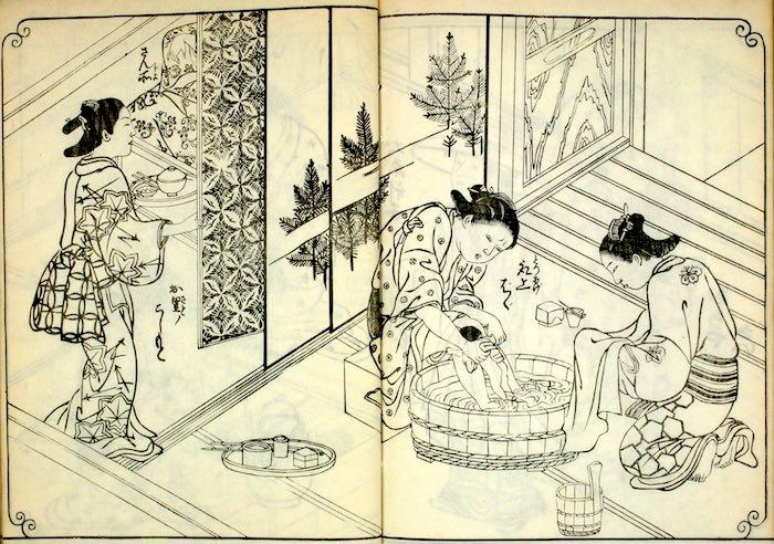 江戸時代の出産(『百人女郎品定』より)