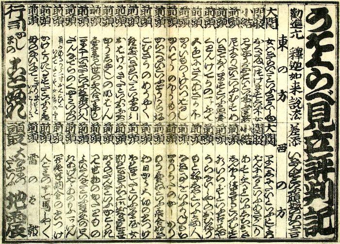 江戸時代のうそ番付「うそくらべ見立評判記」