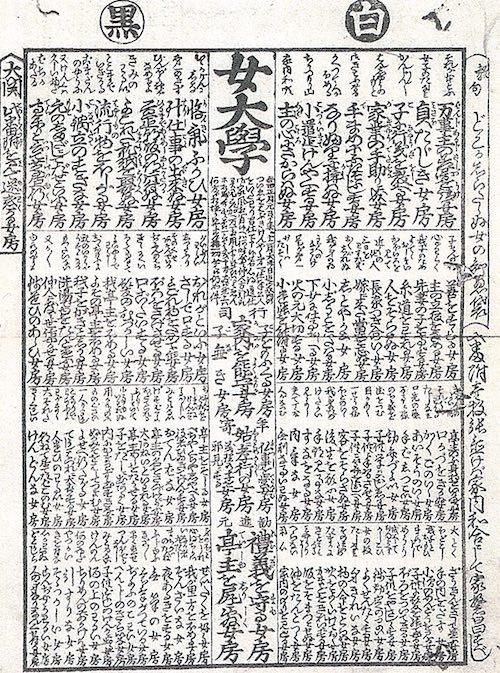 江戸時代の女子教訓書『女大学』にある良妻悪妻番付