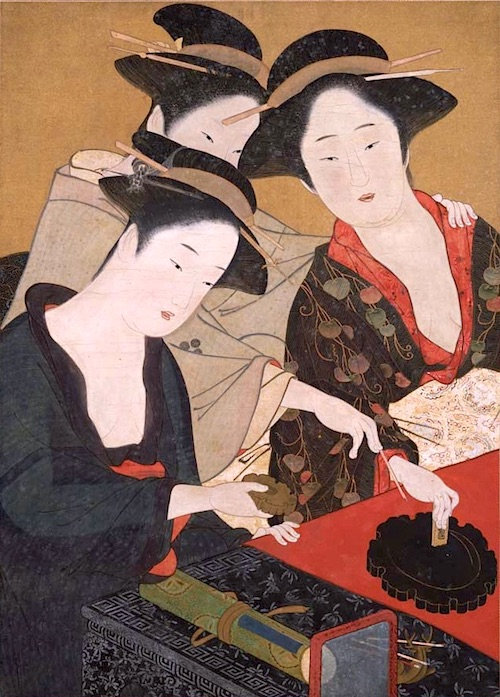 『読書手習美人図』(勝川春章 画)