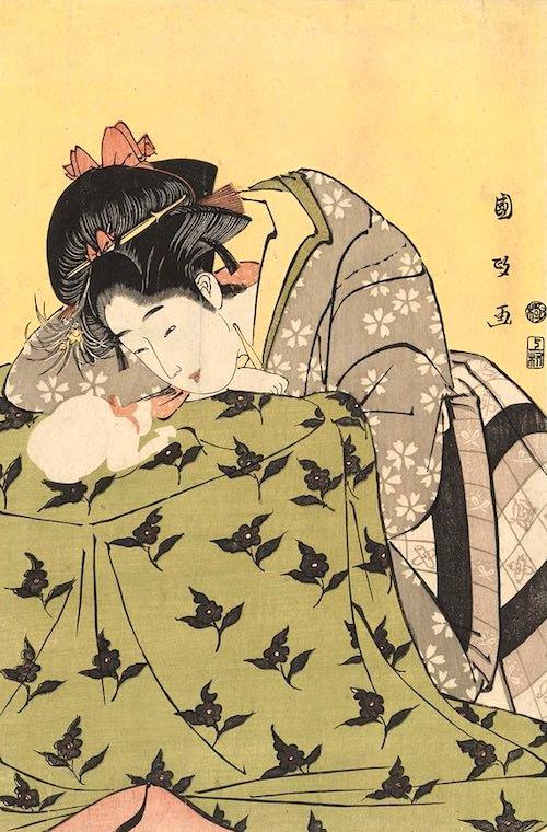 江戸時代の置きごたつ(『炬燵の娘と猫』歌川国政 画)