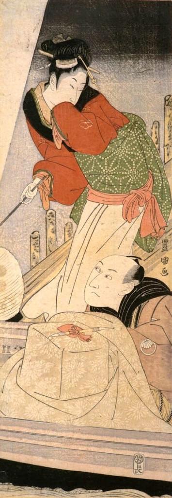 歌舞伎役者・三代目沢村宗十郎(『猪牙船の宗十郎 三代目沢村宗十郎と梅本の茶屋女』初代歌川豊国 画)の拡大画像
