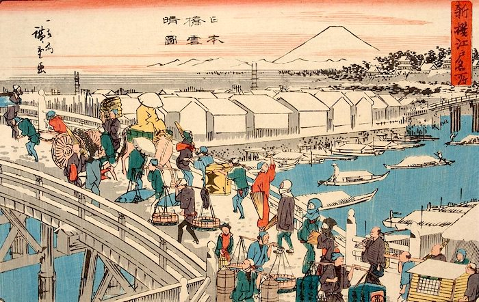 日本橋の冬景色(『新撰江戸名所』「日本橋雪晴図」歌川広重 画)